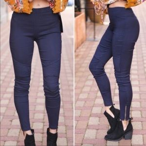 Navy  stretch Motto jeggings with zipper Trim